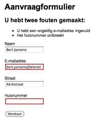 Schermafbeelding van een formulier met validatieboodschappen